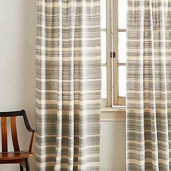 Window Treatments - Striped Linen Curtain I anthropologie.com - striped linen drapes, striped linen curtains, striped neutral and black drapes, striped neutral and black curtains,