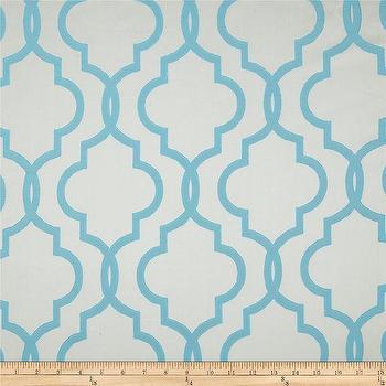 Fabrics - Rockland Quatrefoil Satin Jacquard Turquoise I Fabric.com - turquoise and ivory fabric, turquoise moroccan fabric, turquoise moroccan tile print fabric,