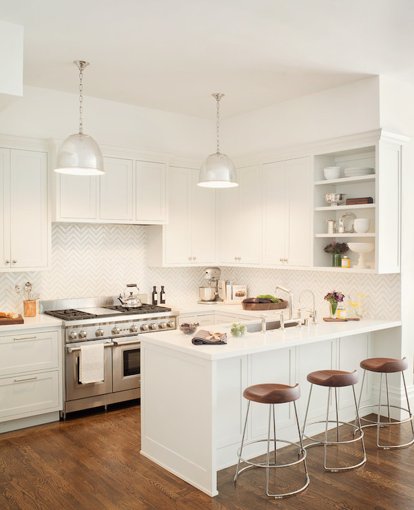 White Chevron Tiles Transitional Kitchen Jute