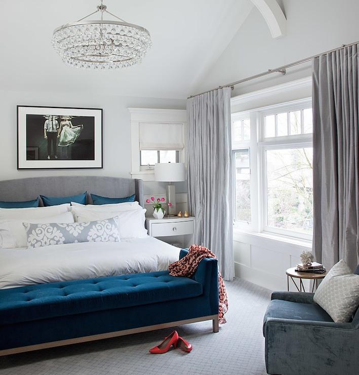 Blue Velvet Bench Contemporary Bedroom Terris Lightfoot