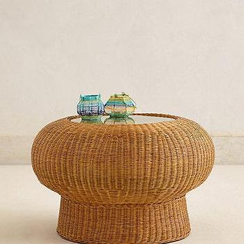 Tables - Wicker Pedestal Table - anthropologie.com - wicker coffee table, wicker pedestal coffee table, round wicker coffee table, braided wicker coffee table,