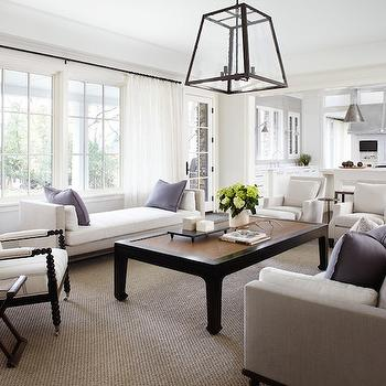 Culligan Abraham Architecture - living rooms - living room lantern, glass and iron lantern, light gray sofa, light gray linen sofa, purple pillows, black coffee table, chinoiserie coffee table, white bench, spindle chair, black spindle chair, white armchairs, white curtains,