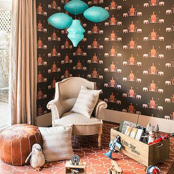 Jute interior Design - boy's rooms - brown and orange kids room, brown and orange boys room, pagoda wallpaper, brown and orange wallpaper, paper lanterns, turquoise lanterns, turquoise paper lanterns, chinoiserie wallpaper, linen chair, linen roll arm chair, trellis rug, orange rug, orange trellis rug, leather moroccan pouf, linen curtains, toy box,