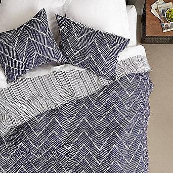 Bedding - Talas Quilt I anthropologie.com - blue and white chevron bedding, blue and white chevron duvet, blue chevron bedding, modern blue chevron duvet,
