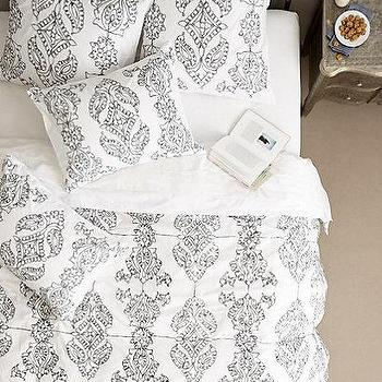 Bedding - Carapelle Duvet I anthropologie.com - acanthus print duvet, embroidered acanthus leaf duvet, gray acanthus leaf duvet,