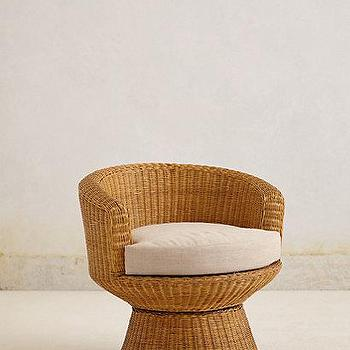 Seating - Wicker Pedestal Chair I anthropologie.com - wicker chair, braided wicker chair, retro wicker chair, wicker pedestal chair,