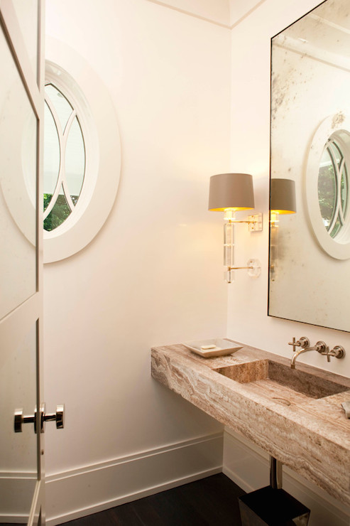 Floating Stone Sink : ... powder room sconces, floating sink, stone sink, floating stone sink