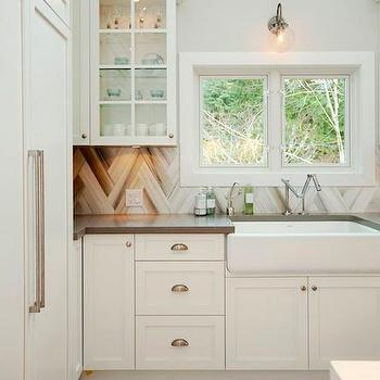 HGTV - kitchens - off white cabinets, off white kitchen cabinets, taupe counters, taupe countertops, taupe quartz counters, taupe quartz countertops, chevron backsplash, chevron tiles, chevron kitchen tiles, chevron tile backsplash, wide farmhouse sink, wide farm sink, karbon faucet, paneled fridge, double door paneled fridge,