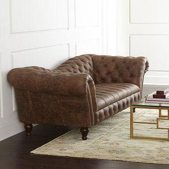 Seating - Oak Leather Recamier Sofa I Horchow - recamier sofa, leather recamier sofa, brown recamier sofa, aged brown leather recamier sofa,