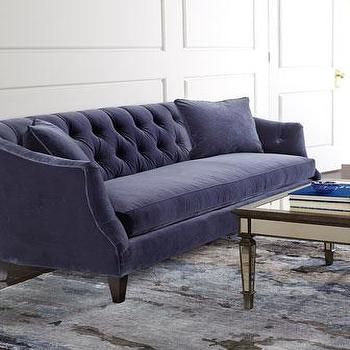 Seating - Dannah Sofa I Horchow - navy velvet sofa, navy velvet tufted sofa, navy sofa with button tufted back, navy button tufted velvet sofa,