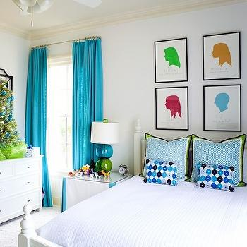 Turquoise Drapes, Contemporary, girl's room, Summer House Style