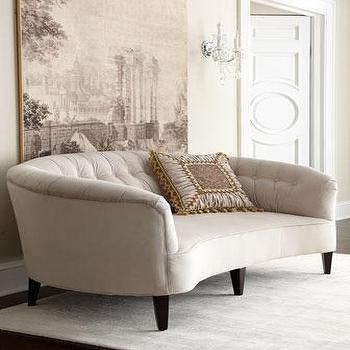 Seating - Old Hickory Tannery Anastacia Pearl Sofa I Horchow - oyster shell colored sofa, oyster shell velvet sofa, curved velvet sofa, curved tufted back sofa,