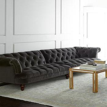 Seating - Old Hickory Tannery Chamberlin Sectional Sofa I Horchow - charcoal gray velvet sofa, charcoal gray velvet sectional sofa, charcoal gray button tufted sofa,