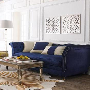 Seating - Haute House Horton Navy Velvet Sofa I Horchow - navy blue velvet sofa, navy button tufted velvet sofa, navy tufted sofa with nailhead trim, navy velvet sofa with nailhead trim,