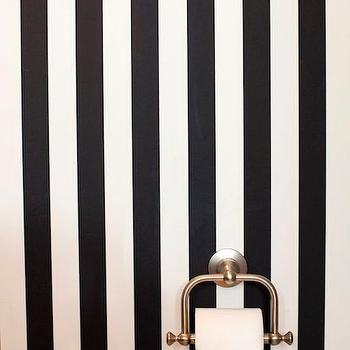 HGTV - bathrooms - powder room, black and white powder room, powder room ideas, striped powder room, black and white striped powder room, vertically striped walls, vertical striped walls,