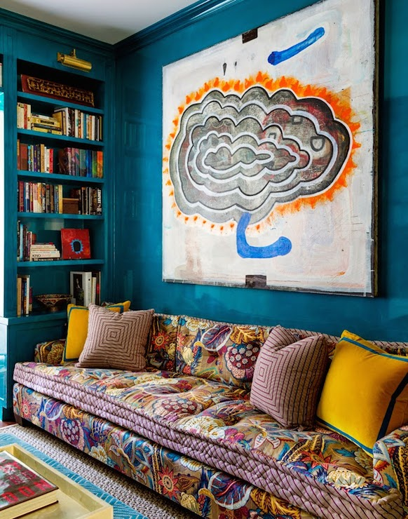 Turquoise Lacquer Walls Eclectic Den Library Office