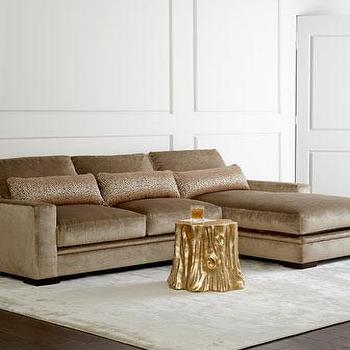 Seating - Celia Couture Sectional Sofa I Horchow - taupe velvet sectional, track arm velvet sectional, taupe velvet sectional sofa,