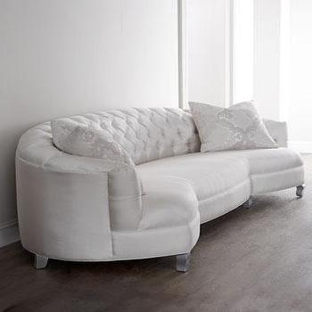Seating - Haute House Kate Sofa I Horchow - cream velvet tufted sofa, curved cream velvet sofa, cream button tufted sofa, curved cream button tufted sofa,