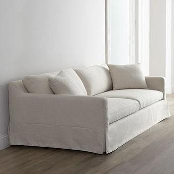 Seating - Annalise Sofa I Horchow - skirted contemporary sofa, natural skirted sofa, pleated skirt sofa, linen sofa with pleated skirt,