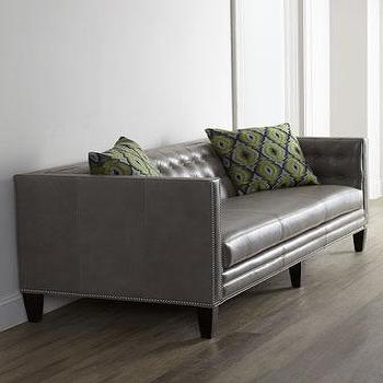 Seating - Massoud Dove Leather Sofa I Horchow - gray leather sofa, gray tufted leather sofa, gray tufted leather sofa with nailhead trim, modern gray leather tufted sofa,