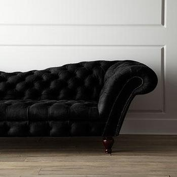 Seating - Black Leather Recamier Sofa I Horchow - recamier sofa, black remcamier sofa, black leather tufted sofa, black leather recamier sofa,