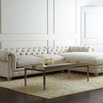 Seating - Warner Linen Sectional Sofa I Horchow - linen button tufted sectional, linen chesterfield style sectional, linen diamond button tufted sectional,