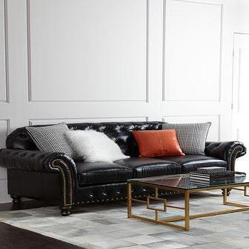 Seating - Massoud Blackburn Sofa I Horchow - black button tufted sofa, black button tufted leather sofa, black tufted leather sofa, black tufted leather nailhead sofa,