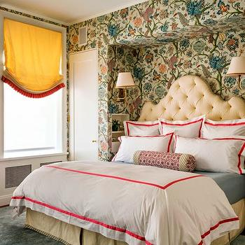 Tilton Fenwick - bedrooms - floral wallpaper, headboard nook, bed nook, cream headboard, cream tufted headboard, cream velvet headboard, white and red bedding, ribbon trimmed bedding, headboard sconces, yellow roman shade, cream bedskirt,