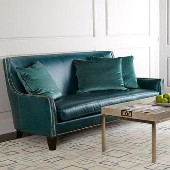 Seating - Massoud Sea Isle Leather Sofa I Horchow - teal leather sofa, teal sofa, teal sofa with nailhead trim, teal leather sofa with nailhead trim,