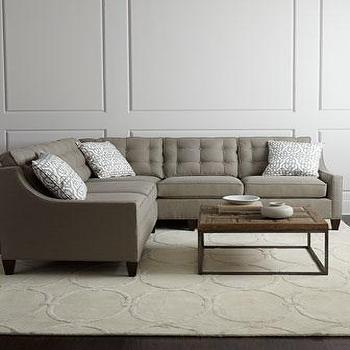 Seating - Brooklynn Sectional I Horchow - gray sectional, modern gray sofa, modern gray button tufted sofa,