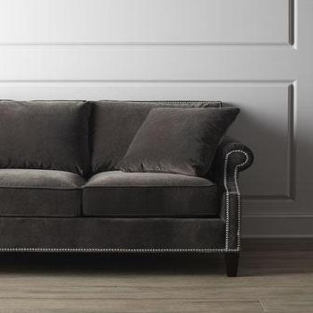 Seating - Glencrest Sofa I Horchow - taupe velvet sofa, taupe velvet sofa with nailhead trim, gray brown velvet sofa,