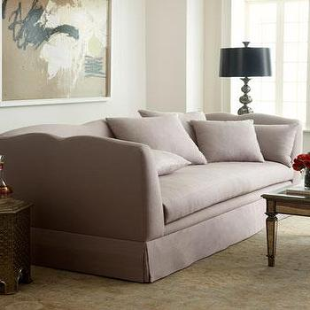 Seating - Haute House Whitley Sofa I Horchow - gray scalloped back sofa, gray skirted sofa, gray curved back sofa,