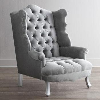 Seating - Haute House Isabella Wing Chair I Horchow - silver gray button tufted chair, scalloped gray button tufted chair, scalloped wing back chair, gray velvet tufted wing chair,
