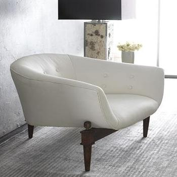 Seating - Global Views White Scoop Chair I Horchow - retro white leather chair, white leather scoop chair, vintage style white leather chair,