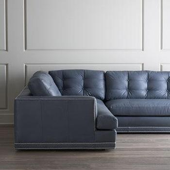 Seating - Estacado Sectional I Horchow - blue gray leather sectional, blue gray tufted leather sectional, blue gray tufted sectional, blue gray sectional with nailhead trim,