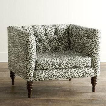 Seating - Bosana Tufted Armchair I Horchow - leopard print armchair, tufted leopard print armchair, gray leopard print armchair,