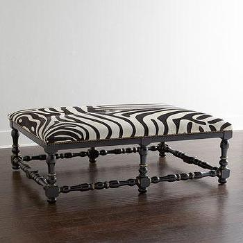 Seating - NM EXCLUSIVE Zebra-Print Hairhide Bench I Horchow - zebra print bench, spindle bench, spindle zebra print bench, zebra hairhide bench, faux zebra hide bench,