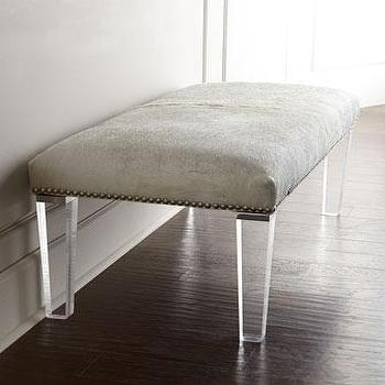Seating - Massoud Brindle Hairhide Bench I Horchow - gray lucite bench, brindle cowhide lucite bench, gray hairhide lucite bench,
