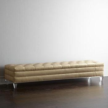 Seating - Haute House Sasha Bench I Horchow - lucite based tufted bench, gold tufted bench, gold tufted lucite bench,