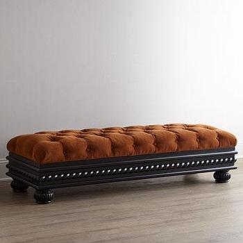 Seating - Massoud Tufted Storage Bench I Horchow - tufted storage bench, rust colored tufted bench, terracotta diamond tufted bench, rust colored diamond tufted bench,