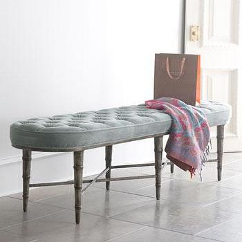 Seating - Antiqued-Teal Tufted Bench I Horchow - blue tufted bench, blue velvet tufted bench, bamboo based tufted bench, bamboo bench with button tufted, bamboo framed velvet bench, bamboo framed blue bench,
