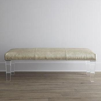 Seating - Massoud Serendipity Bench I Horchow - lucite based bench, lucite snakeskin print bench, faux snakeskin bench, faux snakeskin lucite bench,