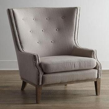Seating - Natalia Chair I Horchow - gray button tufted accent chair, gray tufted chair with nailhead trim, modern gray tufted chair, modern gray button tufted chair, modern gray chair with nailhead trim,