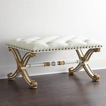 Seating - Bonelli Tufted Leather Bench I Horchow - gold and white leather bench, gold and white tufted bench, gilded white tufted bench, gilt white leather tufted bench,
