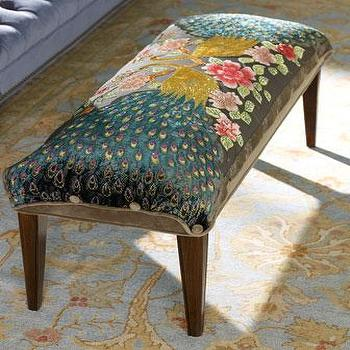 Seating - Haute House Peacock Bench I Horchow - peacock print bench, beaded peacock print bench, peacock pattern bench,