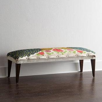 Seating - Haute House Cream Peacock Bench I Horchow - peacock print bench, beaded peacock bench, cream peacock bench,