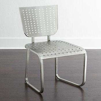 Seating - Hardesty Counter Stool I Horchow - pierced metal counter stool, pierced silver counter stool, modern silver counter stool, industrial silver counter stool,