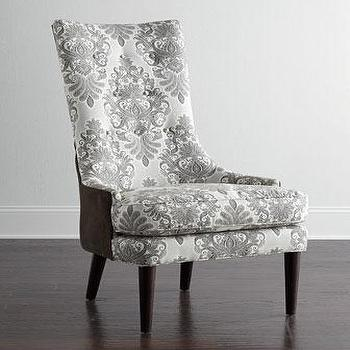Seating - Mentz Host Dining Chair I Horchow - gray damask dining chair, gray damask print host chair, gray damask chair with brown back,
