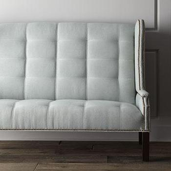 Seating - Massoud Corbin Banquette I Horchow - gray tufted banquette, pale gray banquette, gray banquette with nailhead trim, pale gray nailhead trimmed banquette,
