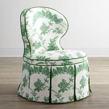 Seating - Haute House Garden Dining Chair I Horchow - green botanical print dining chair, green floral dining chair, green box pleated skirt dining chair,